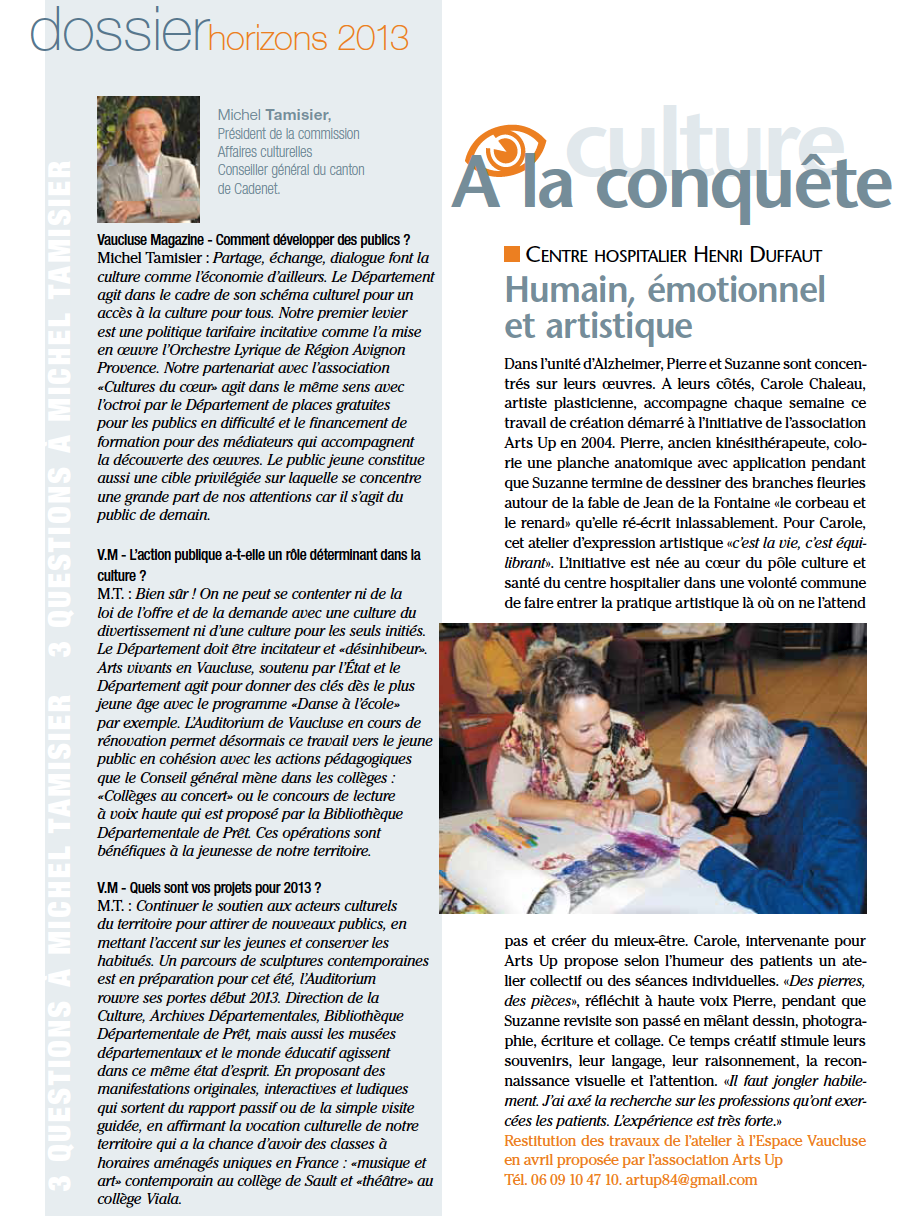 VAUCLUSE MAG ATELIER ARTS UP HOPITAL